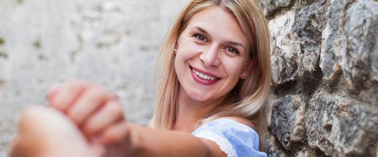 Blond lady smile